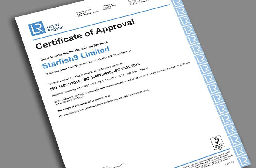 Starfish Construction achieve BS ISO 45001:2018 certification